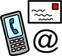 Mobile phone and email symbols