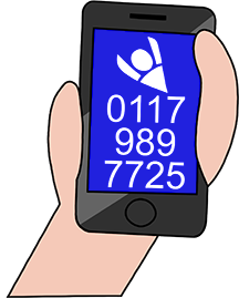 Drawing of a hand holding a mobile phone