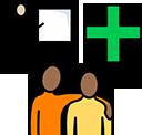Education, health and care symbols