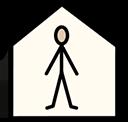 Symbol representing a person in a house