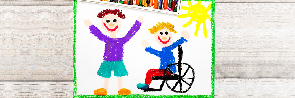 Child's drawing of wheelchair