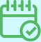 Events diary icon with tick